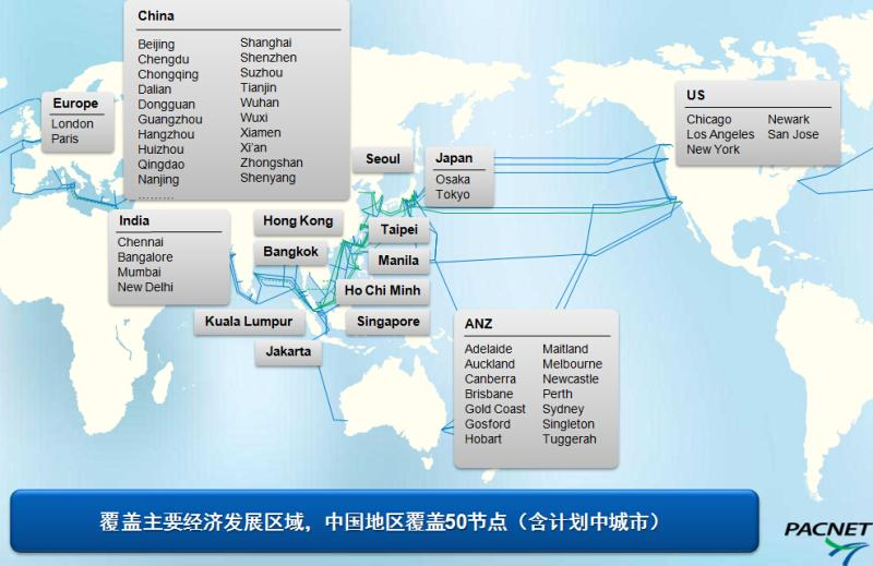 太平洋电信全球主要POP点资源明细(在全球主要国家都有分公司)