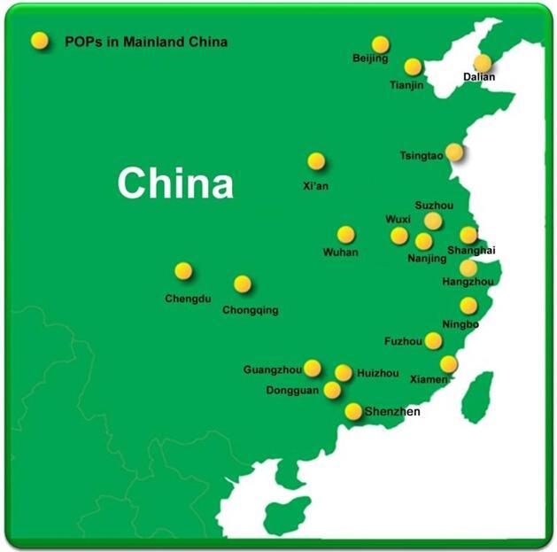 太平洋电信MPLS VPN中国POP点示意图
