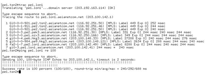 天津POP到伦敦POP的MPLS VPN专线测试图